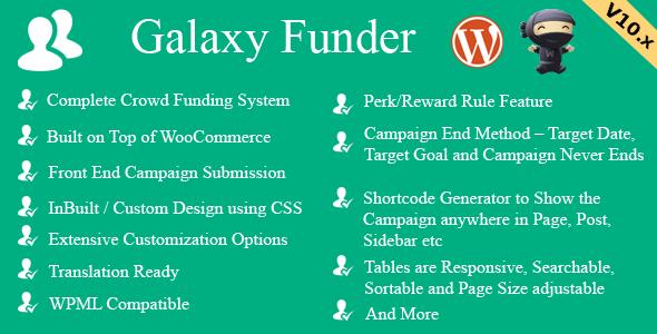 Galaxy Funder v11.2 - WooCommerce Crowdfunding System