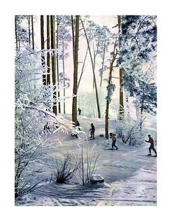 95 Лыжники в зимнем лесу