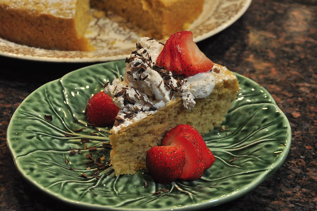 Lemon Olive Oil Cake with Strawberries