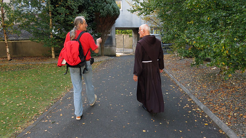 Al talking to the Father in the San Franciscan Monastery in Galway, Ireland
