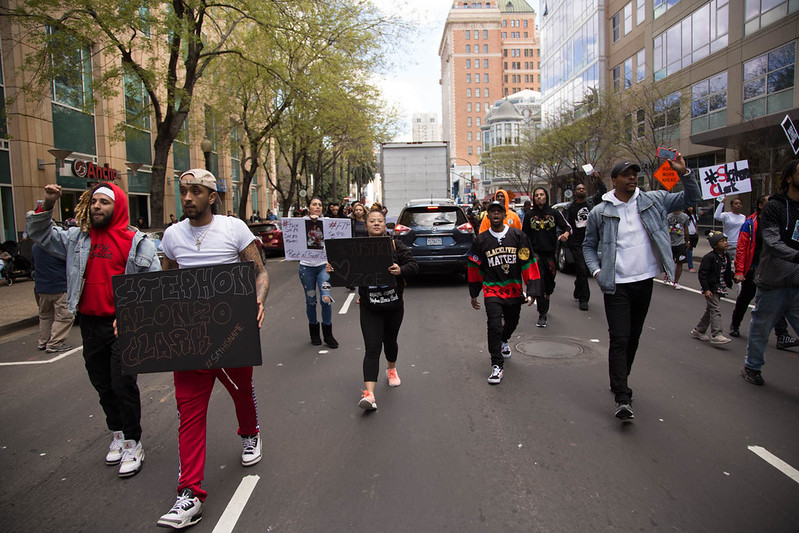 Activists protest the shooting of Stephon Clark: Day 2