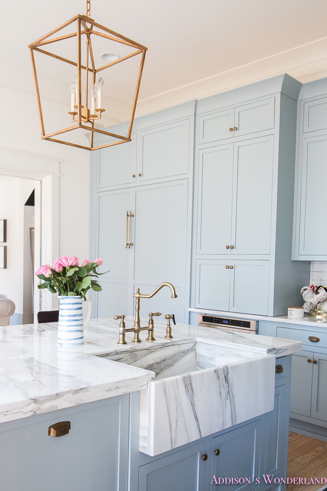 Marble Farmhouse Sink Gold Hardware Pastel Blue Kitchen Cabinets Bright Clean Home Design Decor