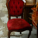 Mahogany framed dining chair wine fabric E50