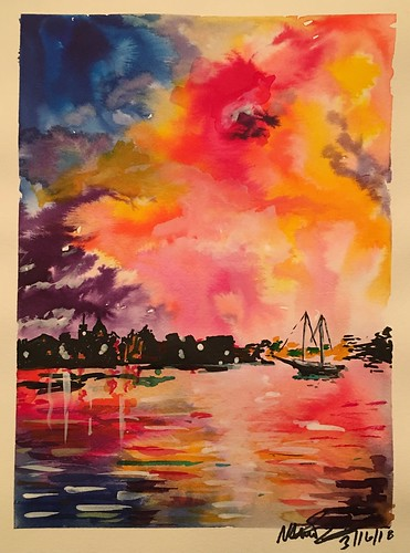 waterfront village ship reflection clouds sunset sketch painting watercolor
