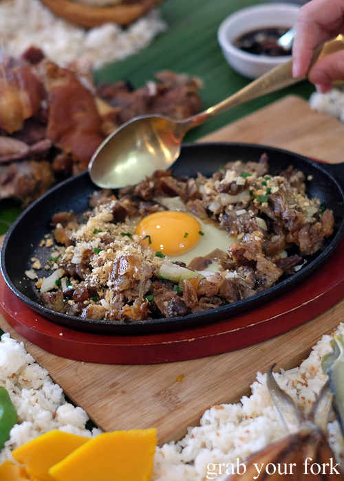 Sizzling sisig for our boodle fight at Sizzling Fillo in Lidcombe Sydney