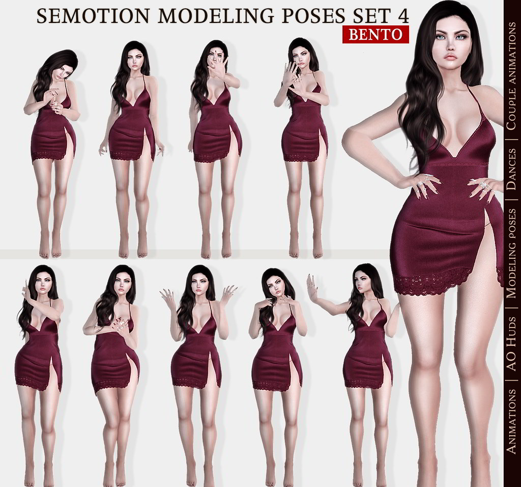 SEmotion Female Bento Modeling poses Set 4 - 10 static poses - TeleportHub.com Live!