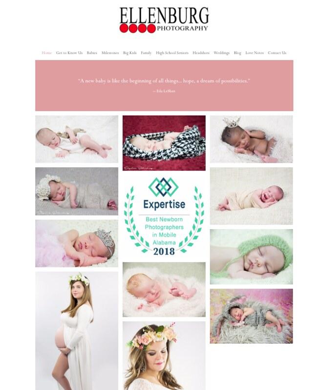 Home page, EllenburgPhotography.com