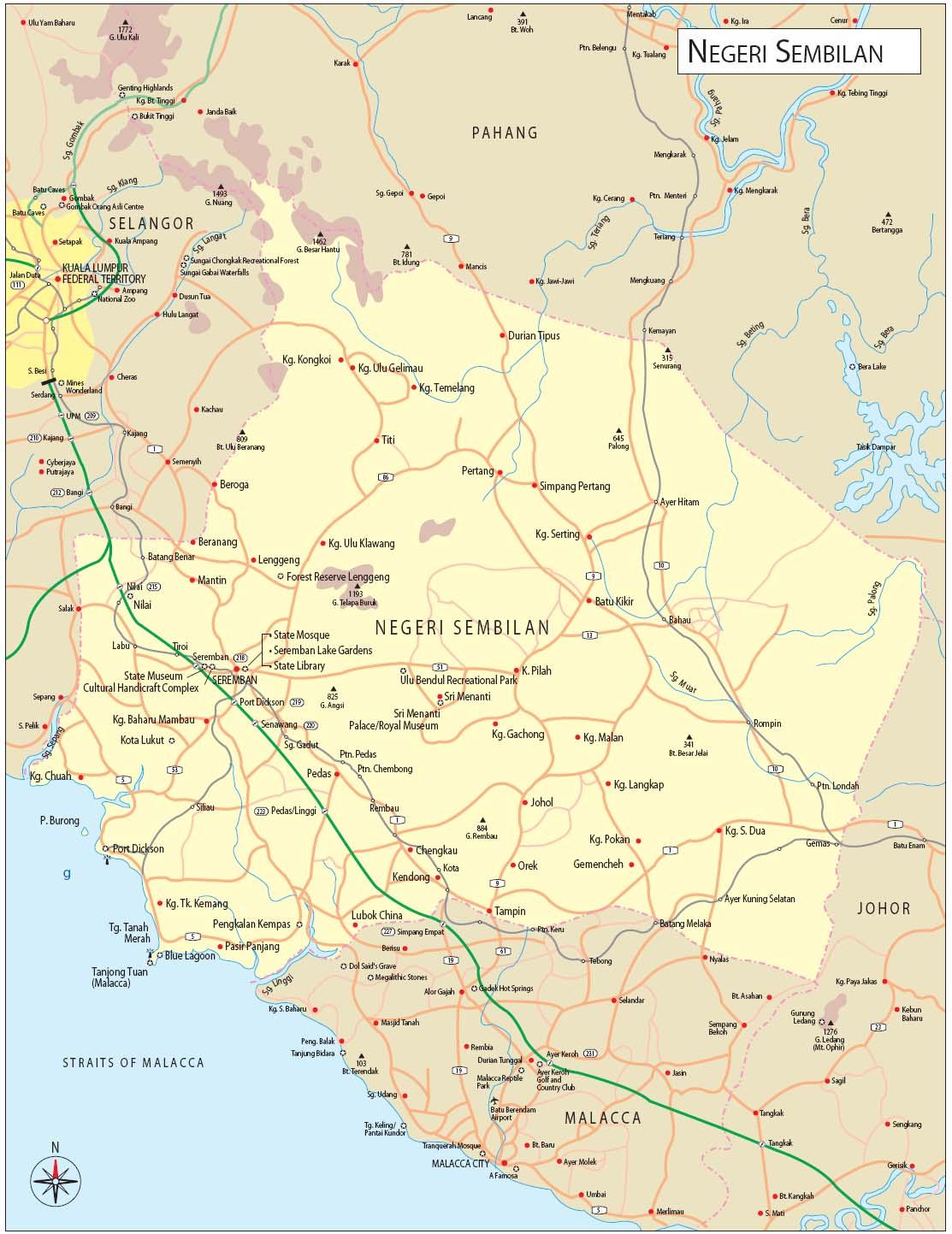 Map of Negeri Sembilan