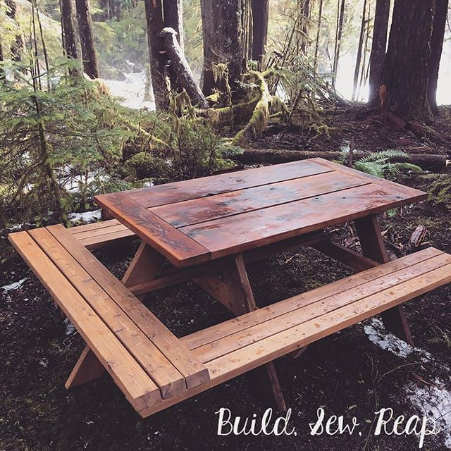 I had to add a leg to the picnic table to make it more stable on the spongy uneven forest ground. #buildsewreap #silvertonwa #build #maker #makersgonnamake #pyrography #wood #cedar