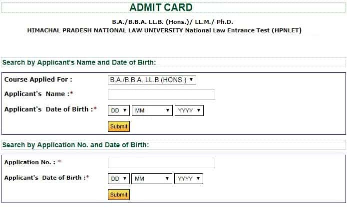 HP NLET Admit Card 2018