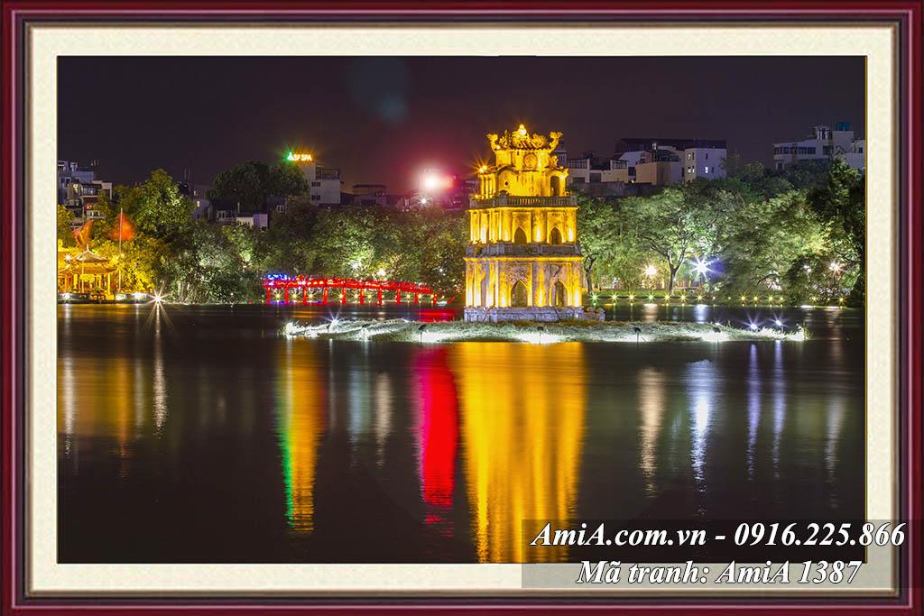 AmiA 1387 - Tranh phong cảnh đẹp quê hương tháp rùa hồ gươm