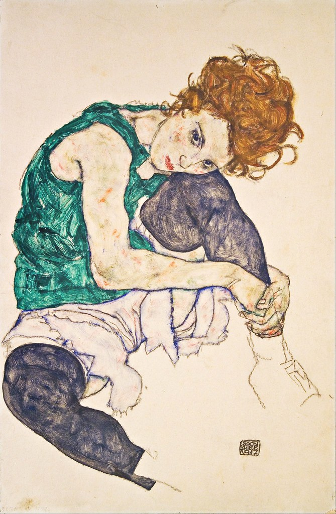 Egon Schiele - Seated Woman with Legs Drawn Up (Adele Herms) (1917)