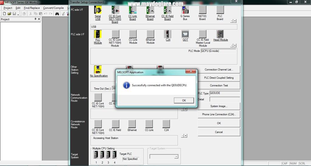 Kết nối PLC Q03 qua cổng USB
