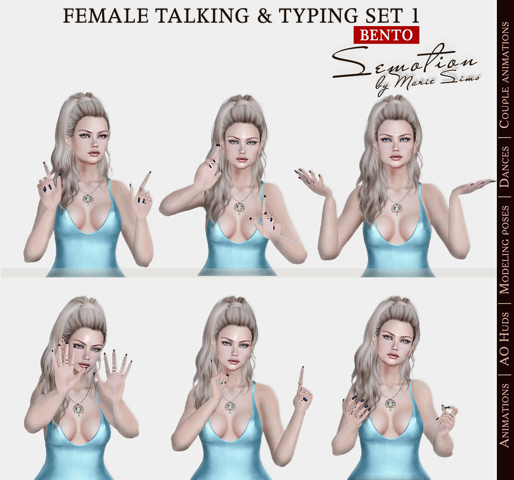 SEmotion Female Bento Talking & Typing Set 1 - 5 animations - TeleportHub.com Live!