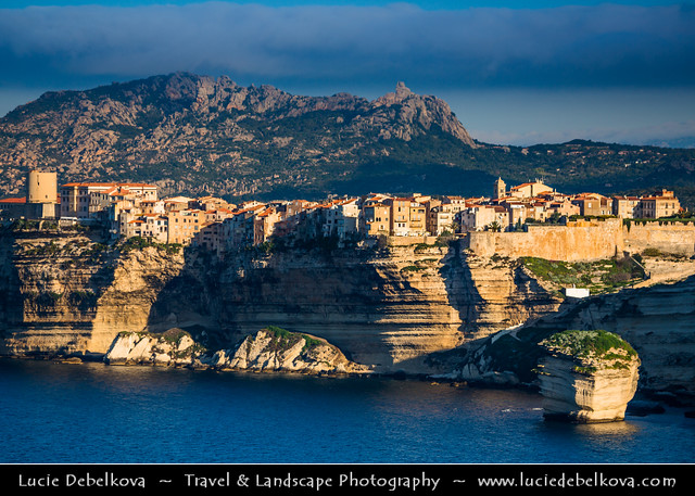 France - Corsica Island - Corse - Bonifacio - Bunifaziu - Historical Town on white limestone cliffs