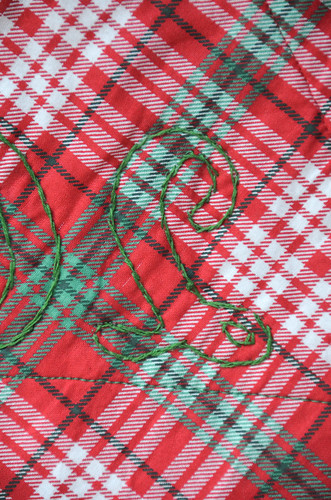 Complete embroidery with a double running stitch (this is actually back stitch, double running preferred) - back