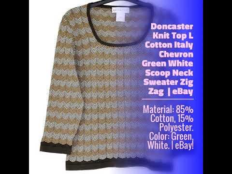 Doncaster Knit Top L Cotton Italy Chevron Green White Scoop Neck Sweater Zig Zag | eBay