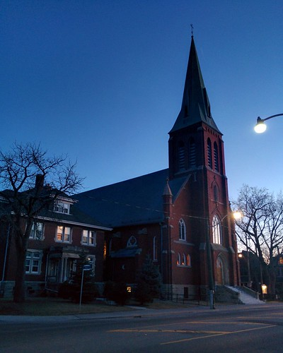 St. Cecilia from the front at twilight #toronto #stcecilia #annettestreet #churches #highparknorth #latergram