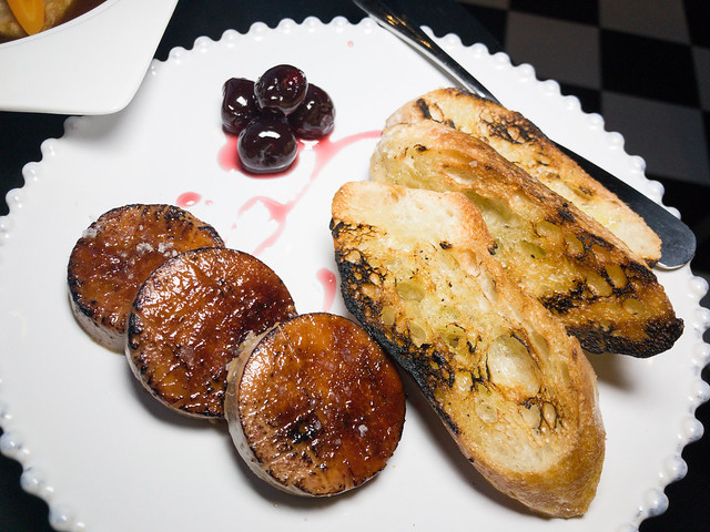 Seared torchons of Hudson Valley foie gras