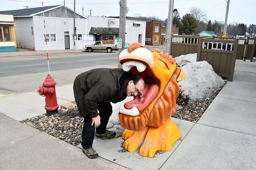 Lion water fountain, Woodville, WI
