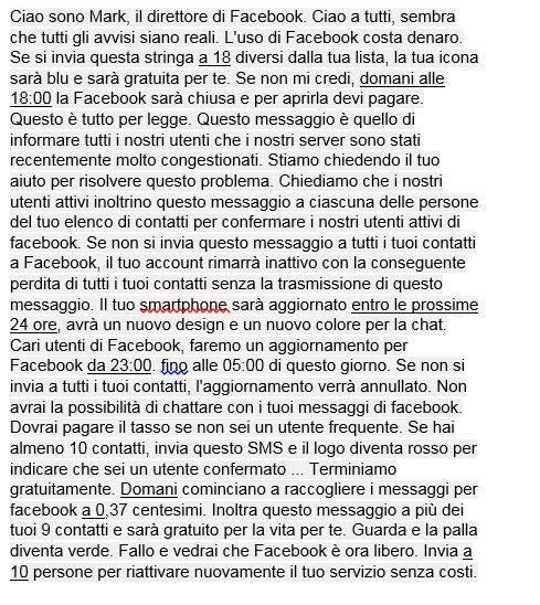 Catena di Sant'Antonio su Facebook