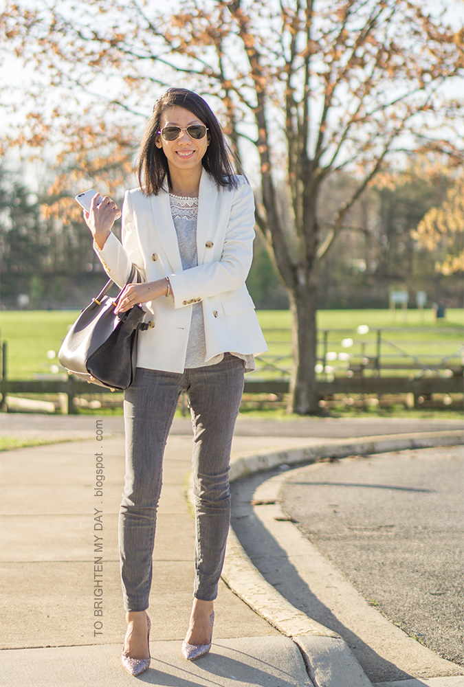 white blazer, gray top with lace, gray skinny jeans, gray tote with suede, pink glitter pumps