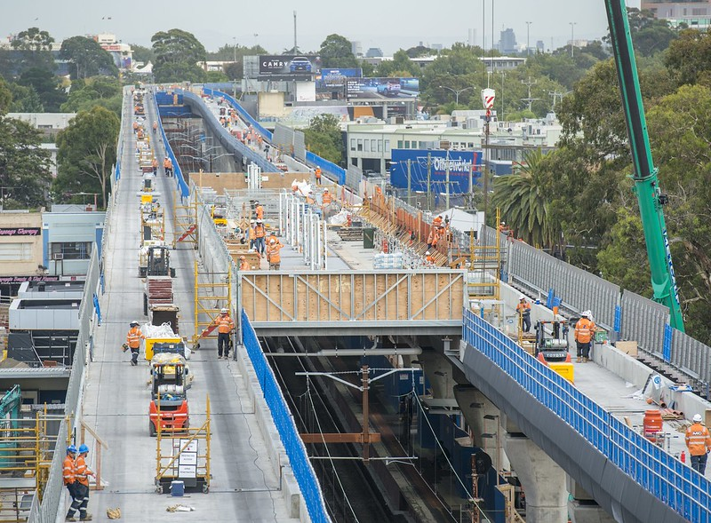 Level crossing removal project, towards Caulfield (Pic: LXRA)