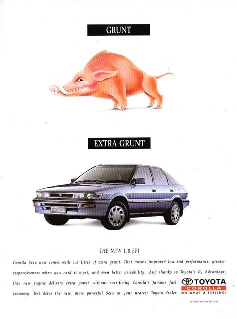 1993 Toyota Corolla Seca 1.8 Litre 5 Door Litfback AE96 Aussie Original Magazine Advertisement
