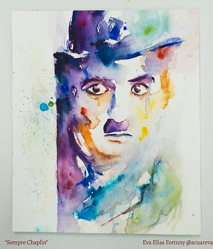 Sempre Chaplin. Aquarel·la de l'artista Eva Elias.