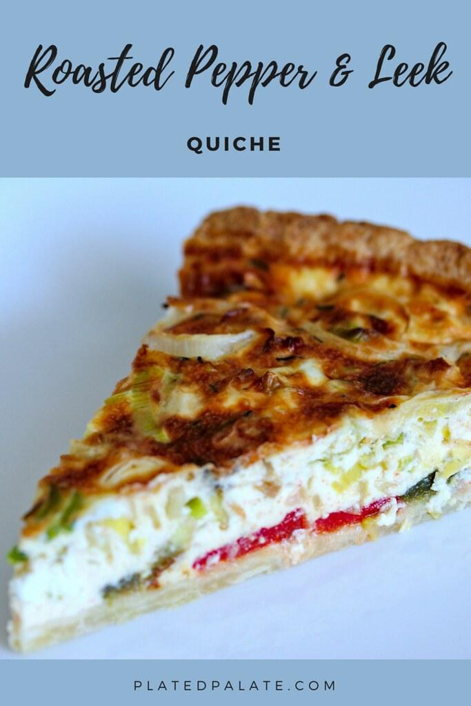 Roasted Pepper and Leek Quiche Recipe | Homemade shortcrust pastry | pâte brisée | platedpalate.com