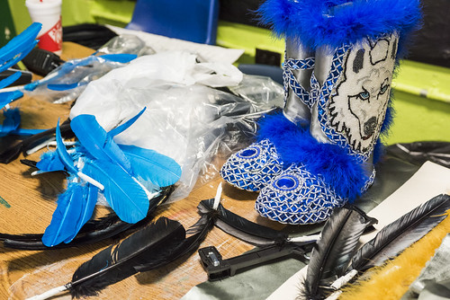 Wild Opalousas Big Chief Tycen Grant's boot sit complete after school on January 9, 2018. Photo by rhrphoto.com.