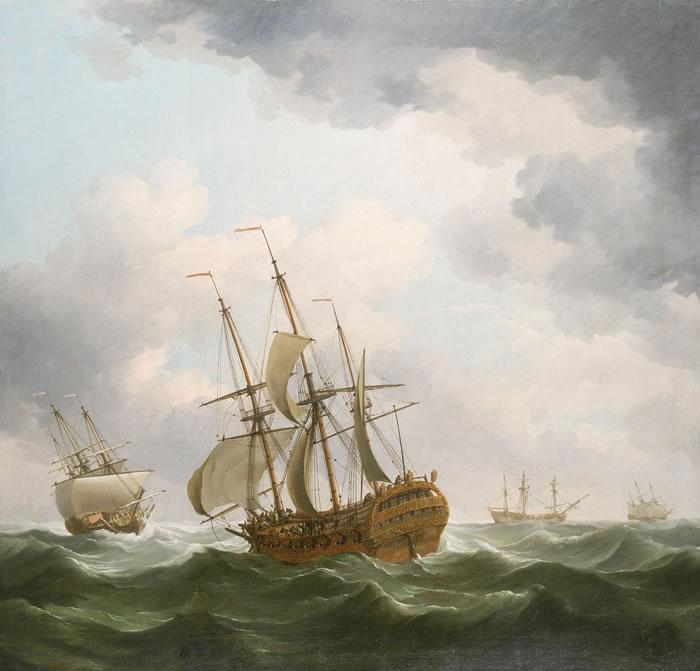 East Indiamen in a gale