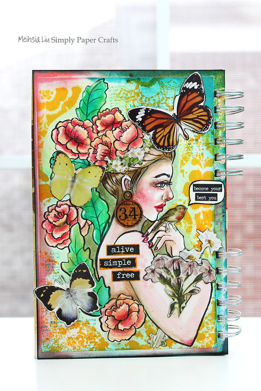 Meihsia Liu Simply Paper Crafts Mixed Media Art Journal Acrylic Paint Illustration Butterflies Simon Says Stamp 1