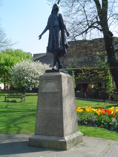 Statue of Pocahontas in Saint George's church, Gravesend, Kent. The body of Pocahontas is laid to rest under this statue. Photo taken on October 30, 2003.