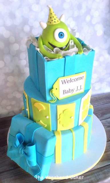 Monsters Inc Baby Shower Cake by The Vagabond Baker-custom cakes and sweets with a global influence