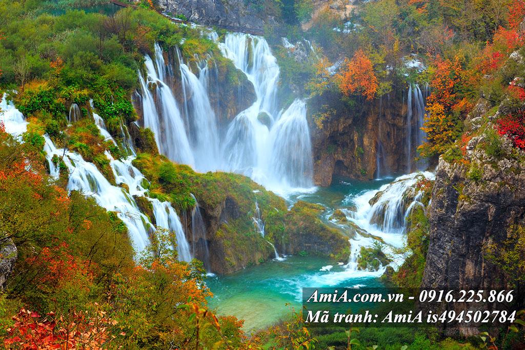 Tranh thiên nhiên đẹp phong cảnh thác nước