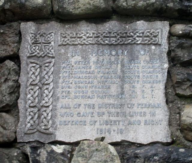 Fearnan War Memorial Plaque