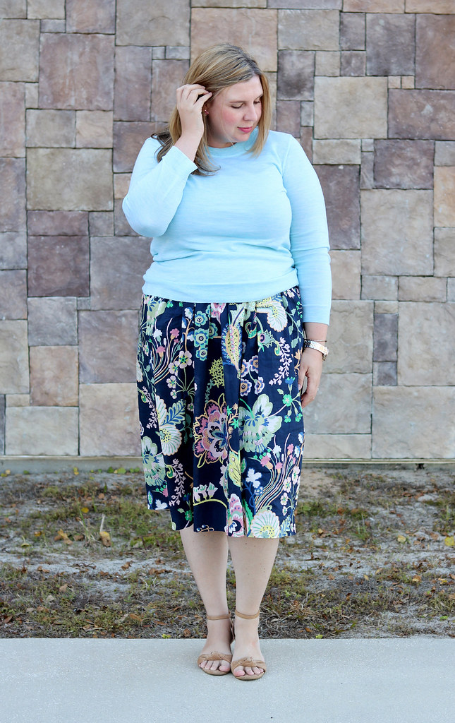 floral cotton midi skirt, aqua tippi, nude wedge sandals 3