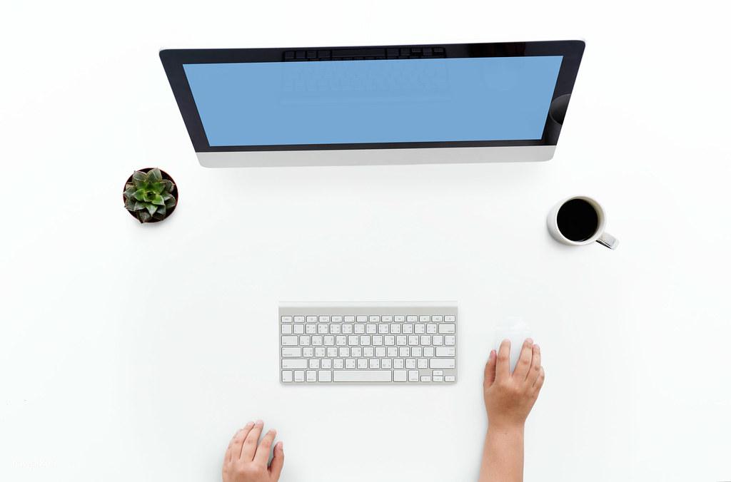 Ariel view of using a desktop computer