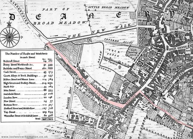 A snip of Isaac Taylors 1750 Plan of Wolverhampton showing the way west through Hollow Lane, Boblake and Barn Street.
