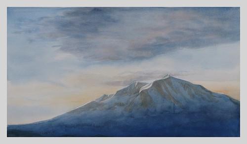 mountsopris mountain rockies colorado carbondale art artwork watercolor painting sunrise fineart