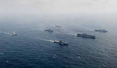 Ships of the Wasp Expeditionary Strike Group and JS Shimokita steam in formation, April 9. (U.S Navy/MC3 Taylor King)