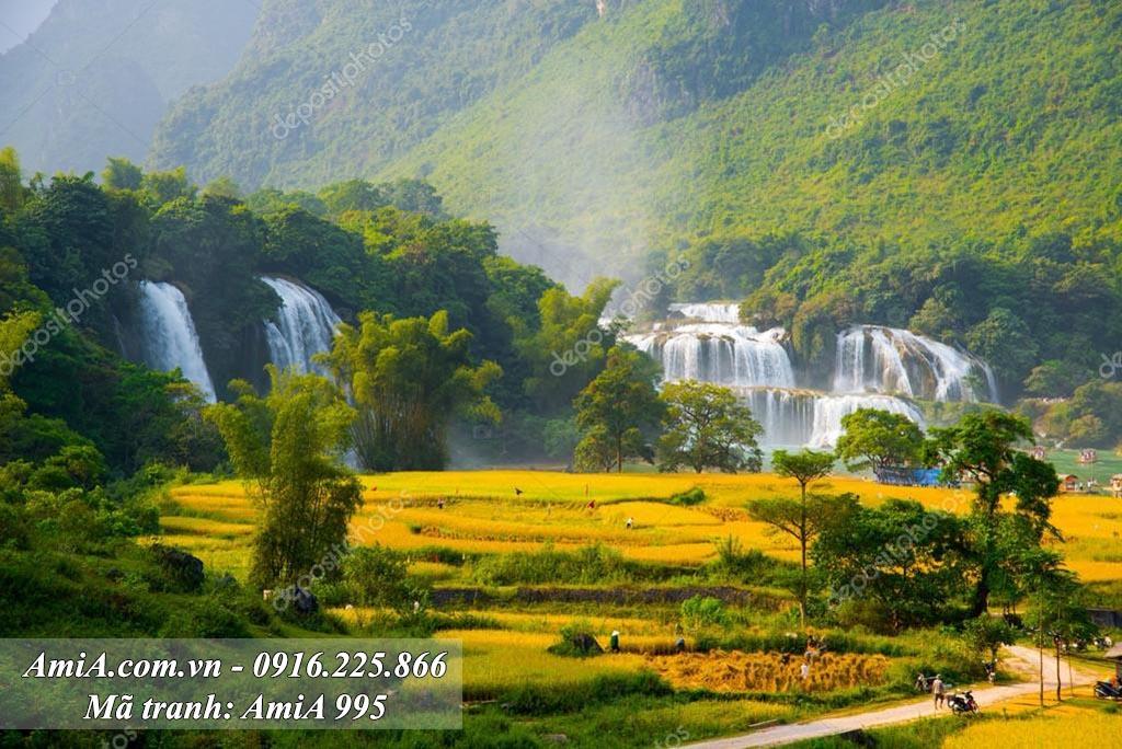 AmiA 995 - Tranh phong cảnh đẹp quê hương làng quê bản Giốc