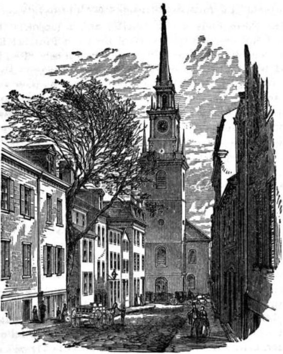 1882 engraving of Old North Church in Boston, Massachusetts.