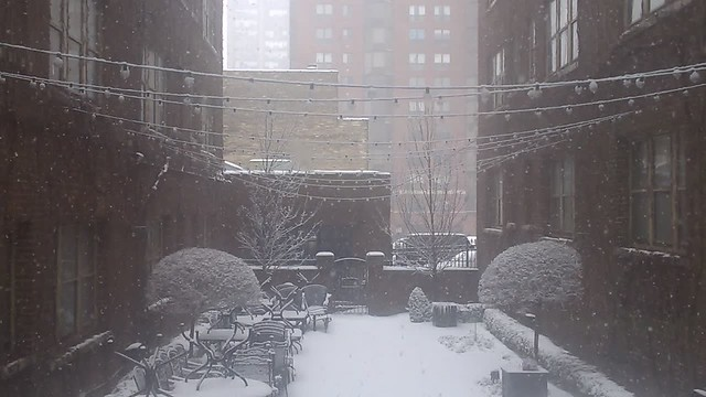 Breakfast at the Plaza / Snowy Courtyard (Click for video with sound)