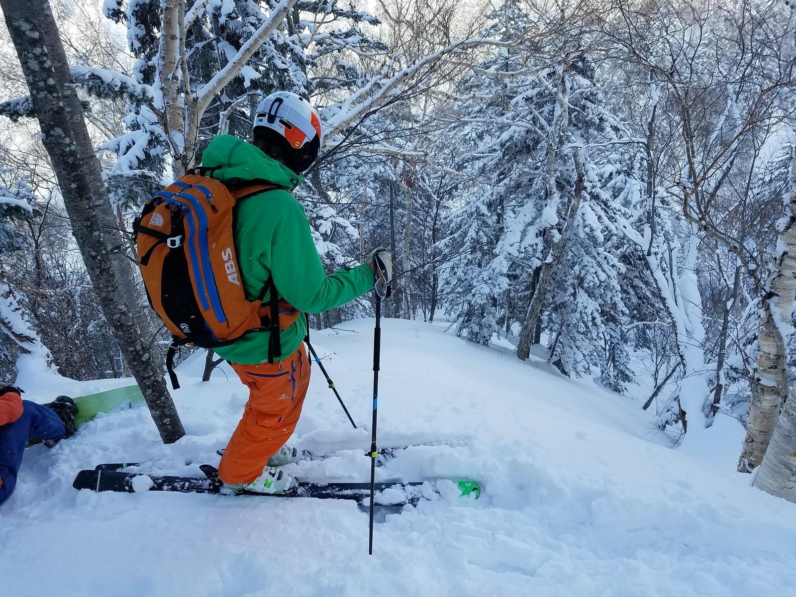Skiing the slopes next to Hiyamizu Hut near Mt. Sapporo (Hokkaido, Japan)