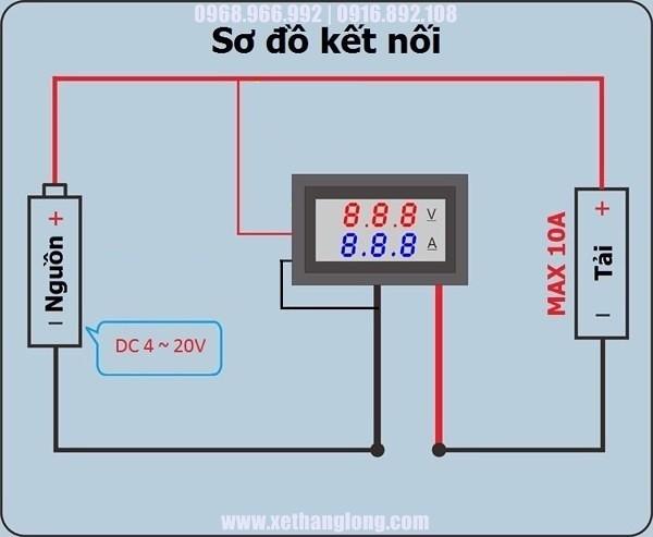 Sơ đồ nối dây khi điện áp nguồn (bình ắc quy dưới 30V)