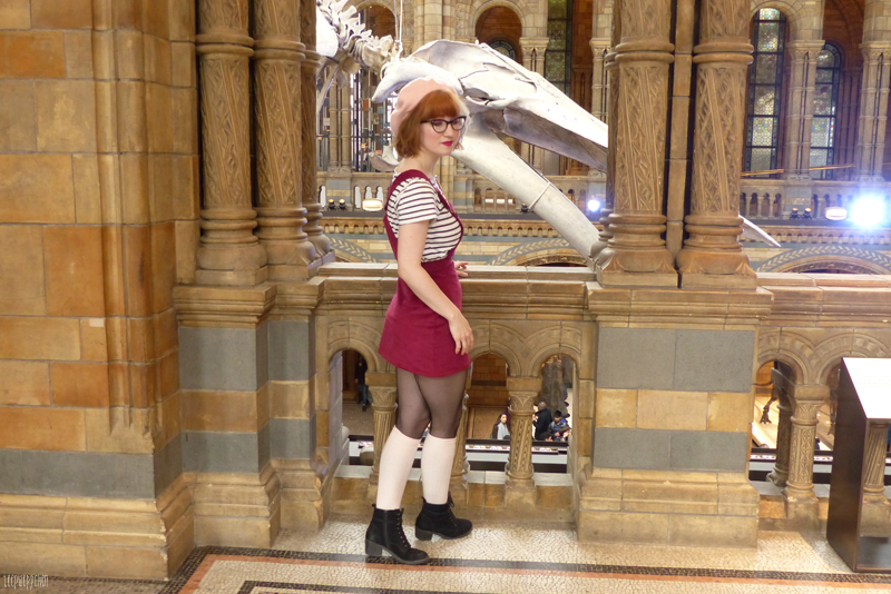 dinosaur pinafore london outfit handmade sushi beret natural history museum wes anderson kneehighs mendl's vintage midcentury 60s 70s