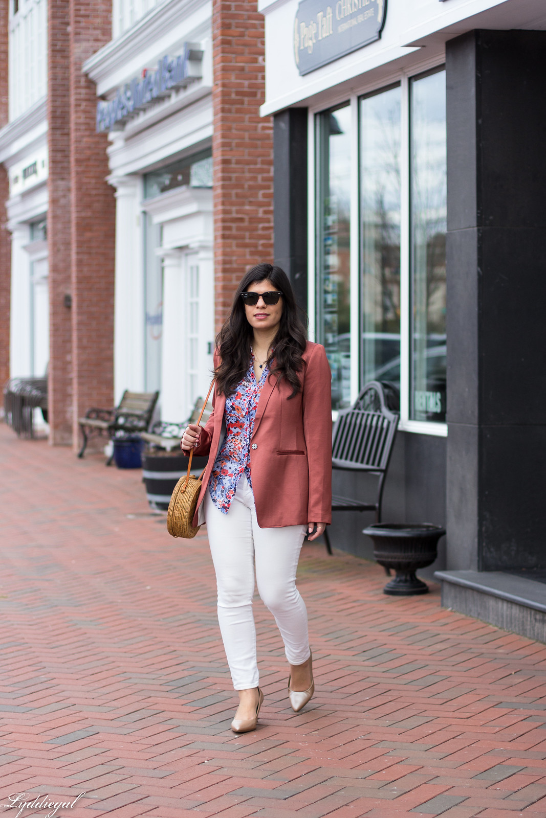 Rust Silk Blazer, Floral Blouse, White Jeans, Round Straw Bag-14.jpg