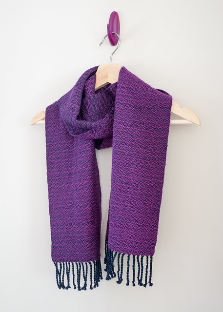 Handwoven scarf in purple and navy